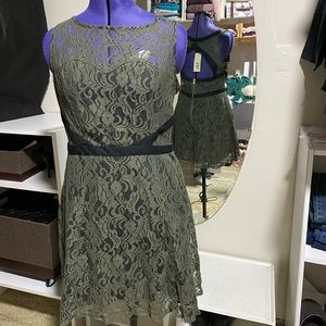 Olive Green Lace Fit and Flare Dress